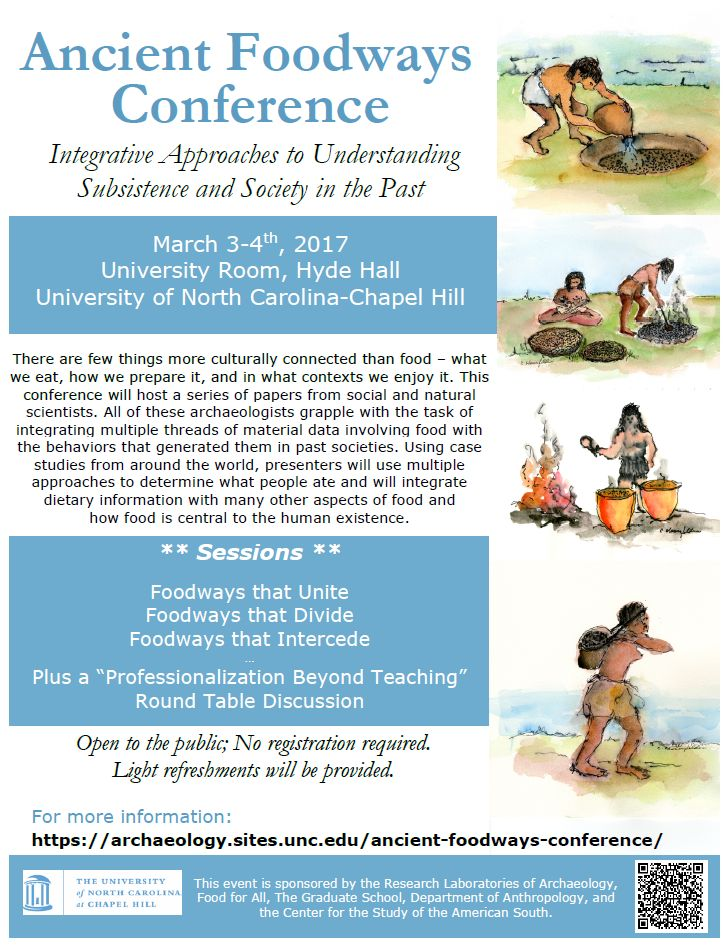 Ancient Foodways Conference. UNC March 3-4, 2017