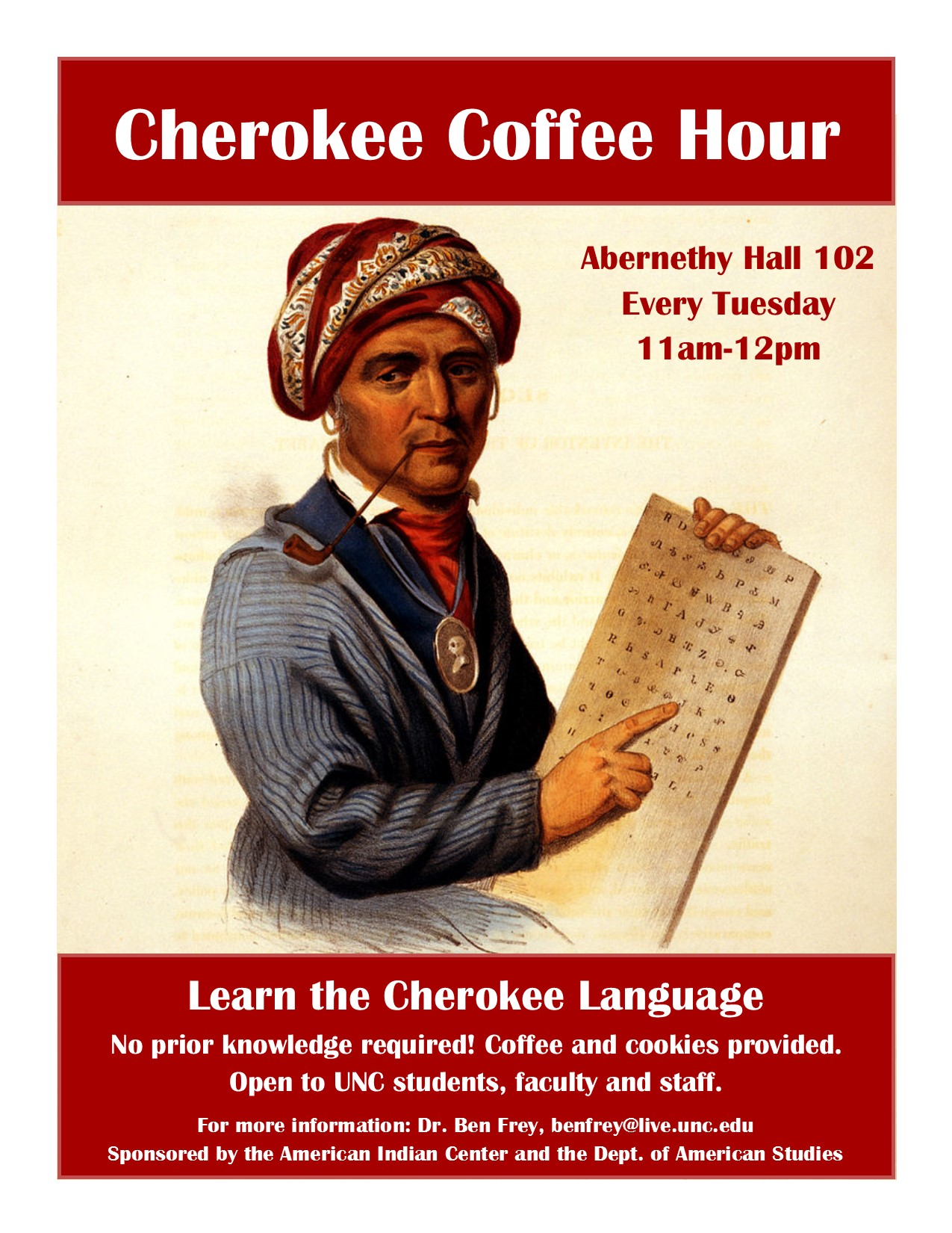 Cherokee Coffee Hour flyer, 2016-2017