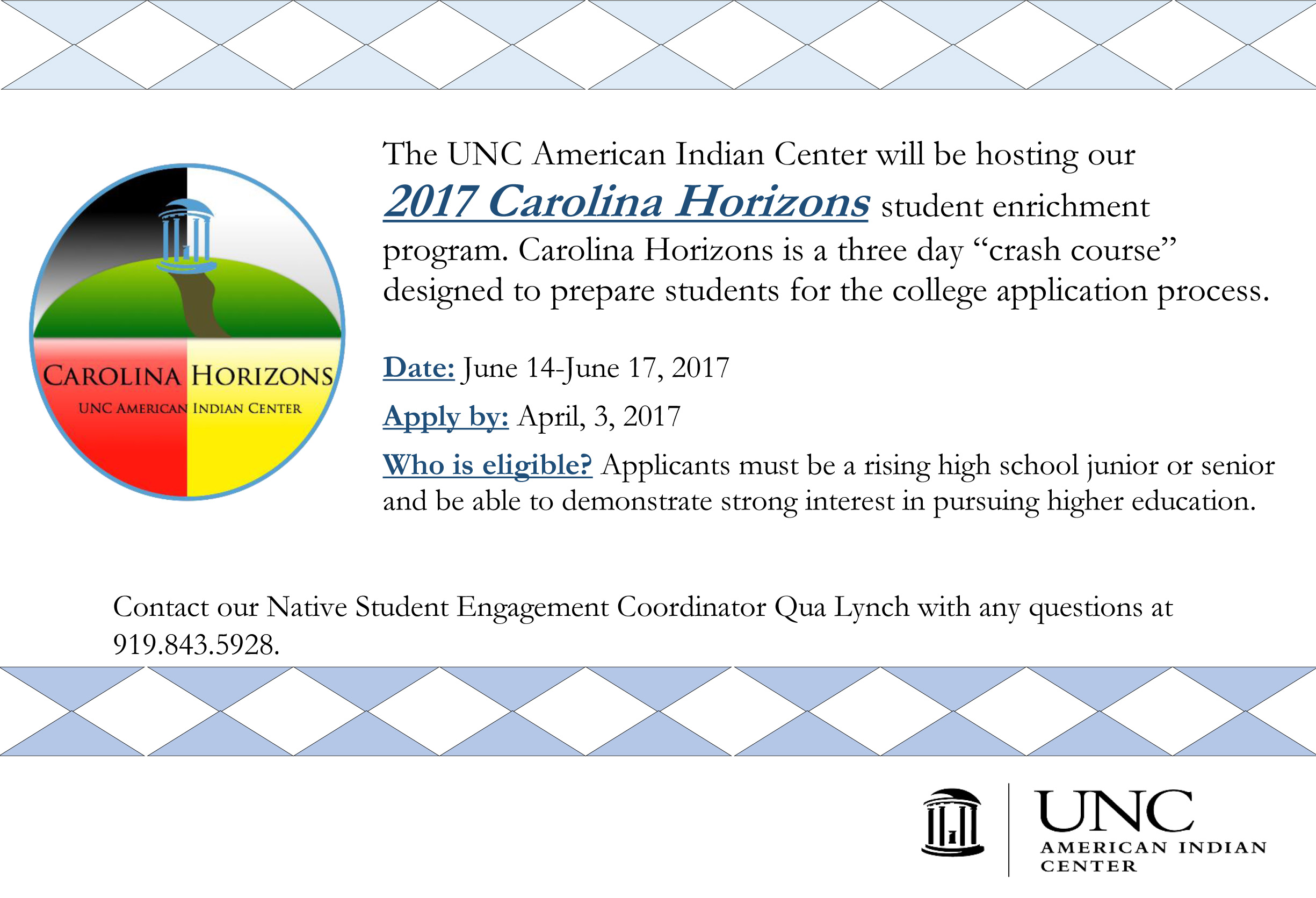 "american n center carolina horizons applications closed  the unc american n center will be hosting our 2017 carolina horizons student enrichment program carolina horizons is a three day ""crash course"""